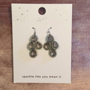NWT LOFT silver sparkly earrings
